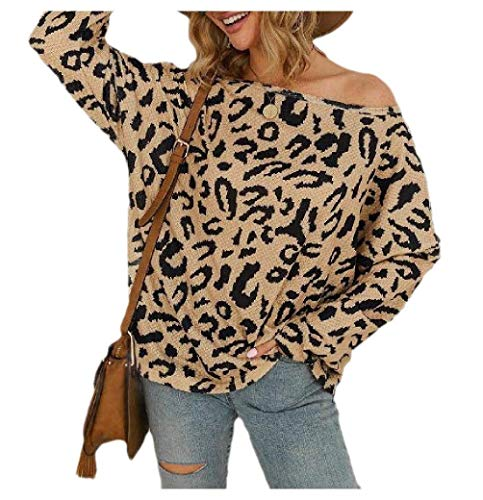 Women Pullover Long-Sleeve Casual Camo Print Blouse Knitted Sweater