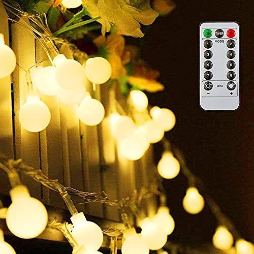 Guirlande lumineuse,Tomshine10M 80 ampoule,8 Modes avec télécommande, étanche IP44, Luminosité réglable, 0.6W LED à Piles Petites Boules, Alimenté par batterie[Classe énergétique A+] (Blanc Chaud)