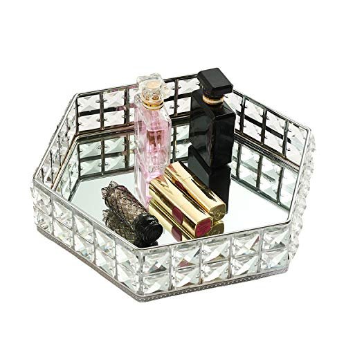 VoiceFly Decorative Crystal Vanity Makeup Tray, Mirrored Sparkly Bling Jewelry Display Tray Perfume Storage Trinket Cosmetic Organizer Home Decor Tray for Dresser Table Bathroom, Silver, Style 2