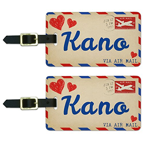 Air Mail Postcard Love for Kano Luggage Suitcase Carry-On ID Tags Set of 2