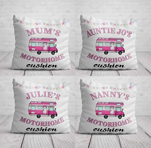 Motorhome Cushion - Personalised Motor Home Birthday Gift for Women - Pink Motorhome Pillow - Home Decor for Camping Trailer 40 x 40cm / 16 x 16in Cushion Cover