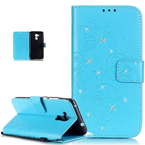 ikasus Compatible avec Coque Huawei Honor 5C Etui Bling Sparkle Diamant Motif Embosser Fleur Vines Papillons Cuir PU Housse Portefeuille Flip Case Etui Housse Coque pour Huawei Honor 5C,Bleu