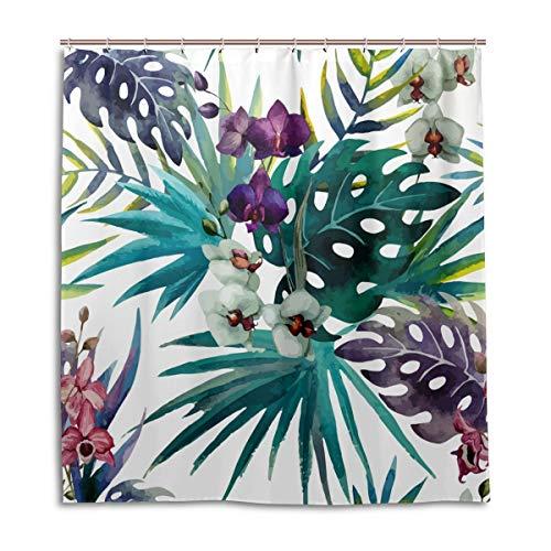 Duschvorhänge Schimmelresistent Wasserdicht Form Tropical Floral Blatt bedruckt waschbar Polyester Bad Vorhang mit stabiler Haken für Badezimmer Home Dekoration Zubehör 167,6x 182,9cm