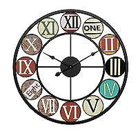 大きな装飾的な壁時計、色の創造的なローマ数字、ヴィンテージ産業の素朴な農家スタイルのモダンな家の装飾リビングルームに最適、50 * 50 CM,Black