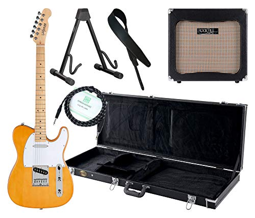 Shaman Element Series TCX-100BL Komplett Set - E-Gitarre - Modeling-Verstärker - Koffer - Ledergurt - Ständer - Kabel - blond