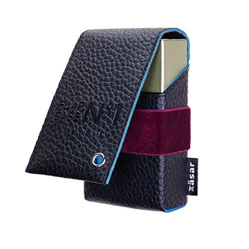 FLAPCASE N°1 • JANET • Designer Zigarettenetui Leder mit Samtgummi, Made in Austria, Zigarettenbox für 19, 20, 21 Zigaretten Packs, regular-King-Size