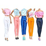 E-TING 5 Set Doll Clothes Outfit 5 Tops 5 Trousers Pants for Barbie Doll Picture Style Gift