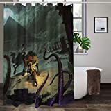 Eldritch Horror Under The Pyramids Shower Curtain with Hooks,Waterproof Shower Curtains for Bathroom