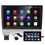 Podofo Android Car Stereo with Bluetooth GPS 10.1 Inch Double Din Car Radio 2.5D HD Touchscreen Multimedia MP5 Player Support WiFi FM Radio Dual USB SWC Mirror Link + Backup Camera