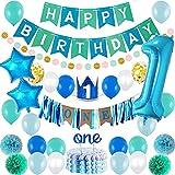 SHLMO Set de decoración de fiesta de cumpleaños para bebé, 100 cm, bandera digital, sombrero de cumpleaños, redondo, globo de látex azul