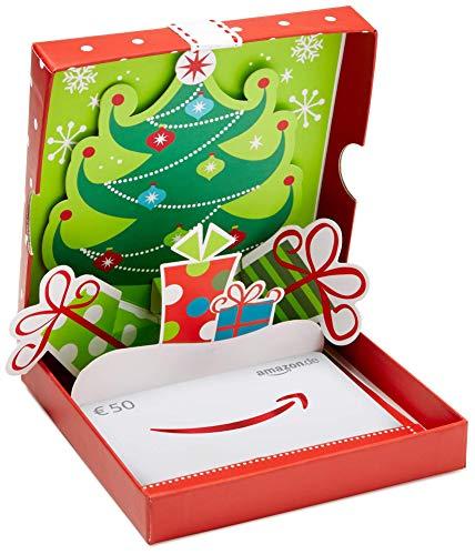 Amazon.de Geschenkkarte in Geschenkbox - 50 EUR (Weihnachtsbaum Pop-Up)