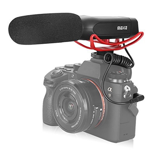 Meike MK-MP2 Camera Shotgun Microphone Uni-Directional Cardioid Condenser Photography Interview Video Mic for Canon Nikon Sony Digital Camera Camcorder with Standard 3.5mm Port
