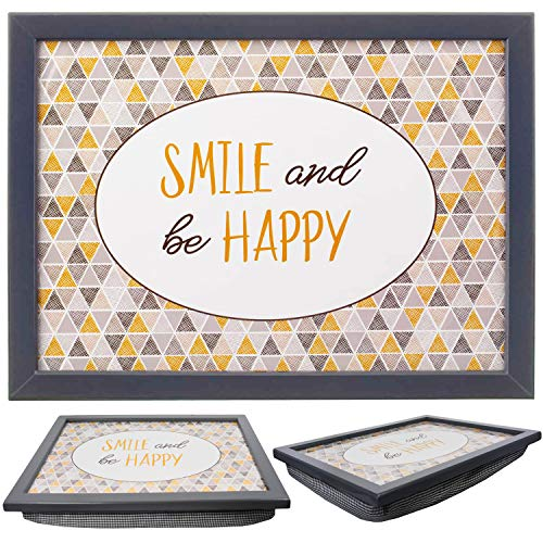 Large Wooden Soft Padded Cushioned Bean Bag Lap Dinner Laptop Food TV Tray (Smile and Be Happy)