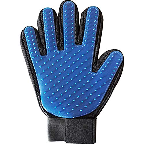 Pet Grooming Glove Brush,Massage Tool with Enhanced Five Finger Design- Furniture Pet Hair Remover Mitt- Suitable for Dogs and Cats with Long Hair and Short Hair,Blue