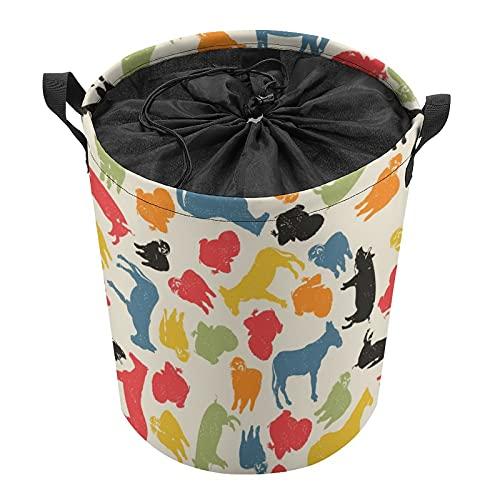 Cubo de almacenamiento impermeable grande organizador ligero cesta para la colada, cubos de juguete, cestas de regalo, ropa sucia, dormitorio de niños, silueta de animales de baño