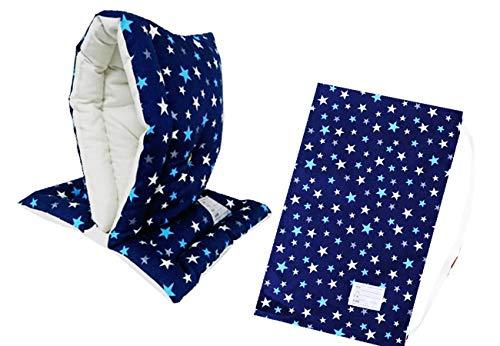 防災ずきん専用カバー付 日本製(小学生から大人まで)Lサイズ 防災クッション(約30×46cm) (スター(ブルー))