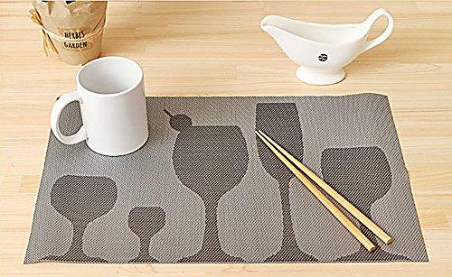BLISS Lot de 4 sets de table tendance en PVC pour salle à manger, bols, dessous de verre lavables et antidérapants (gris cocktail)