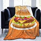 "ZHONGKUI Throw Blanket Hamburger Super Soft Flannel Luxury Bed Sofa Blanket for All Seasons 50""X40"" Small"