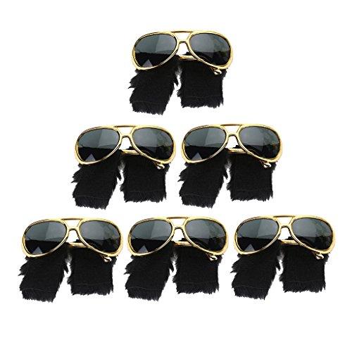 Sharplace Set de 6pcs Gafas de Sol Barba 70s Presley Lentejuela Ropa Adorno Costura Equipo Fiesta Regalo
