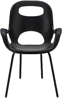 UMBRA Oh Chair. Chaise avec accoudoirs Oh Chair. Assise en polypropylène coloris noir, avec pieds en métal chromé coloris ...