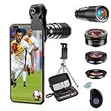 Apexel Cellulare Camera Lens-22X teleobiettivo+25X Macro Lens+120 ° grandangolo + 205 ° Fisheye 4 IN 1 Kit obiettivo per telefono con treppiedi e otturatore remoto per iphone 11 pro huawei P30 Samsung