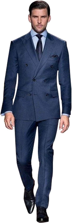 QZI Men's Slim Fit Lapel 2 Piece Double Breasted Suit