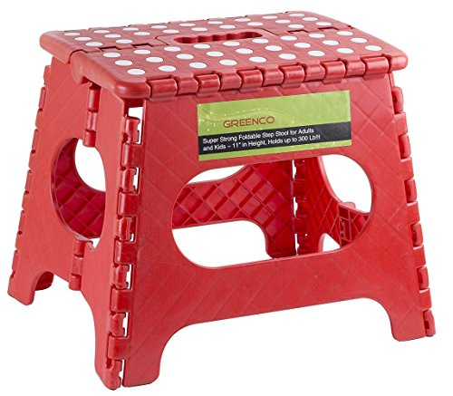 Greenco Super Strong Foldable Step Stool for Adults and Kids, 11', Red