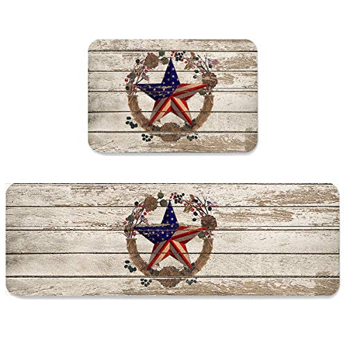 SUN-Shine Retro American Flag Texas Star Kitchen Rugs and Mats 2 Pieces,Rustic Farm Wooden Decorative Carpet Floor Mat for Home Area Runner Non Slip Doormat