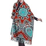 Tengyuntong Bufanda de mantón Mujer Chales para, Bufanda de invierno de cachemir con patrón decorativo de mandala para mujer y hombre