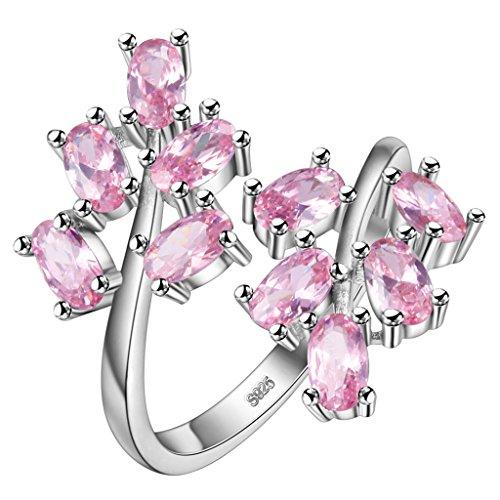 HMILYDYK Anello placcato in argento Sterling S925, con zaffiri a taglio ovale rosa, regolabile, da donna