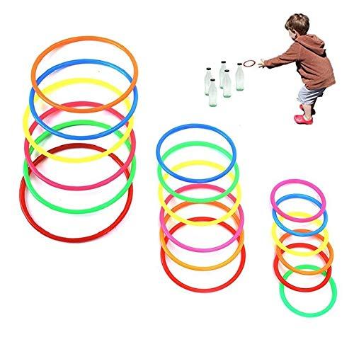 Koogel 18Pcs Ring Toss Rings,3 Sizes Carnival Ring Toss Hula Hoop for Kids Ring Toss Game for Kids for Carnival Garden Backyard Outdoor Games Bridal Shower Game