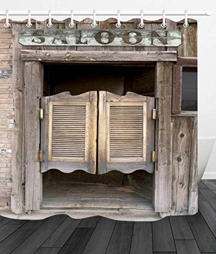 FGHJK Old Western Swinging Saloon Puerta Cortina de baño decoración baño 12 Ganchos