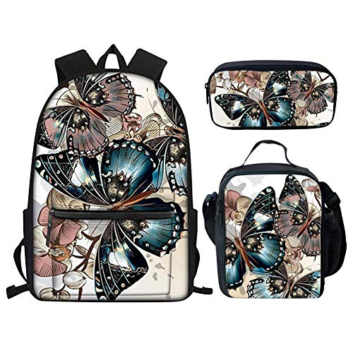 Student Backpack Bookbags Set Vintage Butterflies Laptop School Bag with Pencil Case Lunch Box