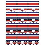 SpringPear 12x Tatuaje Temporal de la Bandera de Costa Rica para Competiciones Internacionales Juegos Olímpicos Copa del Mundo Impermeable Banderas Tatuaje Etiqueta Adhesiva Fan Set (12 Piezas)
