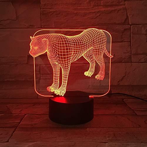 Presentación de Diapositivas de acrílico Transparente Soporte de Mesa de Leopardo Lanpara Cambio de Color Decoración Artesanía Regalo para niños