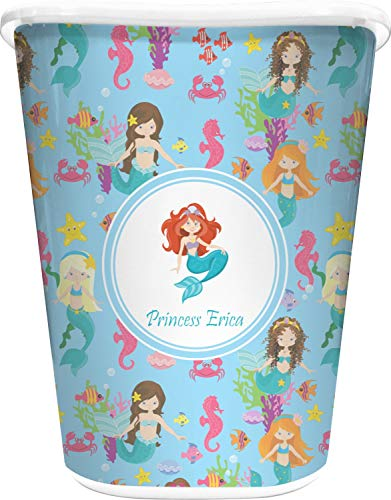 RNK Shops Mermaids Waste Basket - Single Sided (White) (Personalized)