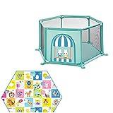 GWFVA Parque Infantil Bebé Patio de Juegos Hogar de 6 Paneles Valla de Juegos Patio Infantil para Interiores con cojín Hexagonal