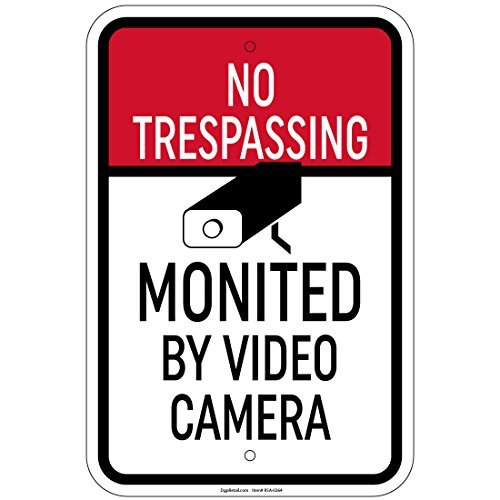 HSSS Reflecterende Geen Trespassing Gecontroleerd Door Video Camera Teken 8x12 Inch Aluminium Tekenen