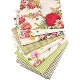 Yuelso 8pcs / Lot Rose Impresa Sarga de algodón FabricPatchwork de Tela for Las Hojas de Bricolaje acolchar Costura bebé Niños Material del Vestido