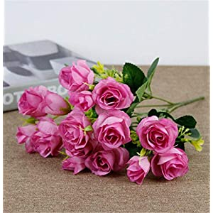 GJNVBDZSF 15 Heads Rose Artificial Flowers Bride Silk Small Head Fake Bouquet for Home Wedding Decoration Memorial Day Faux Flowers,7 Colors 30×3.5cm Light prupel