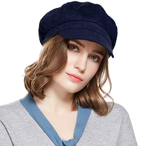 Ladies Newsboy Cabbie Beret Cap Bakerboy Schirmmütze Winter Hut for Women (Navy blau)