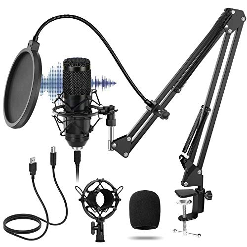 Micrófono Condensador,Sucastle USB Cardioide Micrófono,Micrófono de Estudio Profesional Podcast Plug and Play,Con Soporte Ajustable para Micrófono,Soporte de Brazo,Filtro Pop Etc.192KHz/24 Bits