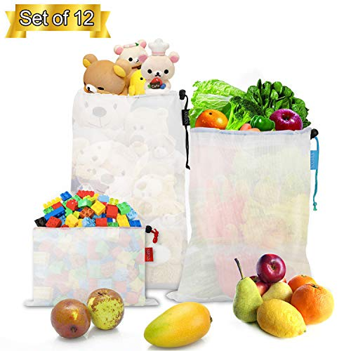 Reusable Mesh Produce Bags Washable - XREXS Set of 12 Eco Friendly Vegetable Storage Bags Keep Vegetables Fresh, Multi-Function Grocery Shopping Storage Bags (30 * 20cm, 35 * 30cm, 42 * 30cm)
