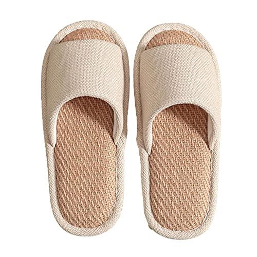 Cómodas pantuflas de lino de algodón Zapatos casuales superduraderos Cómodas pantuflas de lino de algodón informal Uso en interiores,beige,37-38