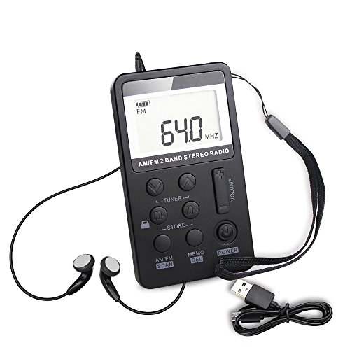 Mini ricevitore radio portatile digitale tascabile con cuffie/auricolare personale per sportivi che...