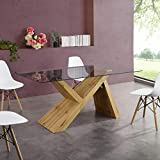 Cherry Tree Furniture Orillia 160 cm Dining Table (Clear Glass Table Top)