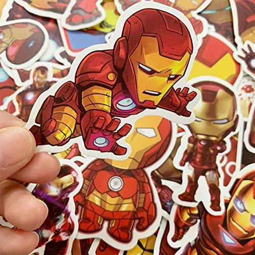TUHAO Marvel Los Vengadores Iron Man Pegatinas impermeables para ordenador portátil, monopatín, equipaje, guitarra, casco de juguete para niños, regalo de 35 unidades