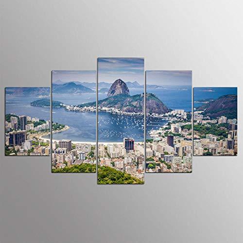 QYZNBMJ Leinwandbild 5 Teile leinwand Bilder Moderne Rio de Janeiro, Brasilien kreatives Geschenk wanddeko Wohnkultur Modulare