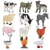 Beautymei 12 animales de granja realistas juguete de animales de granja realista de cerdo, vaca, oveja, modelo de movimiento, simulación de animal, juguete de baño, el mejor regalo para niños