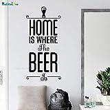 Tianpengyuanshuai La Cerveza es cálida, el hogar es Feliz, Pegatinas de Pared, decoración del hogar, Mural de Arte de Vinilo extraíble 80x38cm